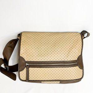 LEONELLO BORGHI Star Perforated Leather Messenger